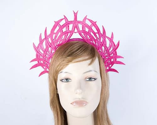 Fuchsia lace crown fascinator