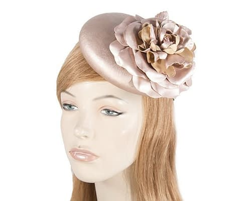 Rose Gold leather pillbox fascinator J333RG
