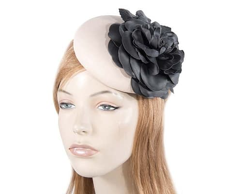 Beige Black leather pillbox fascinator J333BB