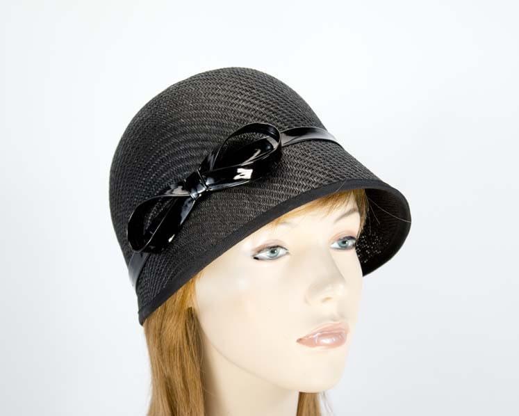 Black cloche bucket racing hat