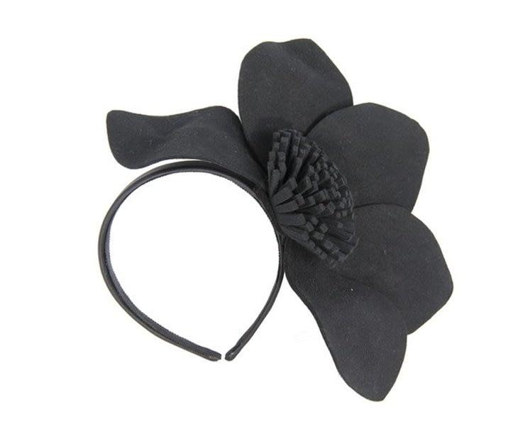 Black felt flower fascinator J338B