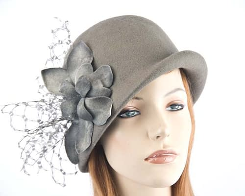 Grey felt bucket hat