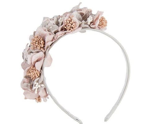 Silver pink flowers racing fascinator J344SP