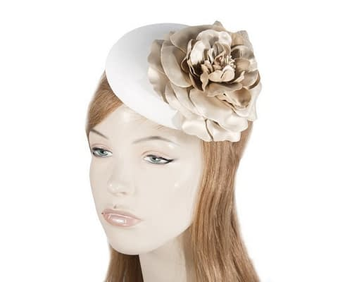 White Gold leather pillbox fascinator J333WG
