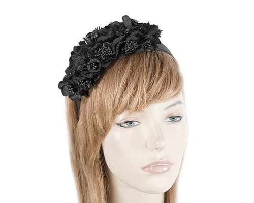 Black flowers racing fascinator J344B