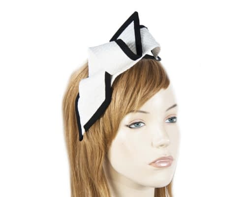 White black racing bow fascinator by Max Alexander