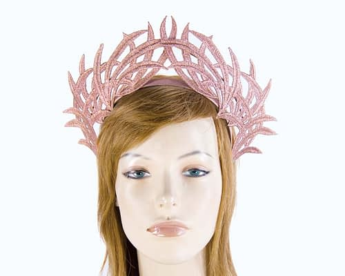 Rose Gold crown lace fascinator