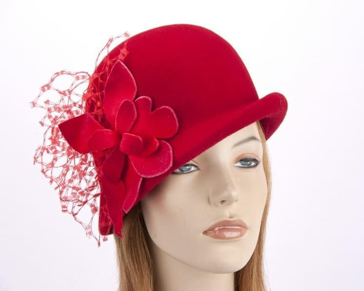 Red felt bucket hat