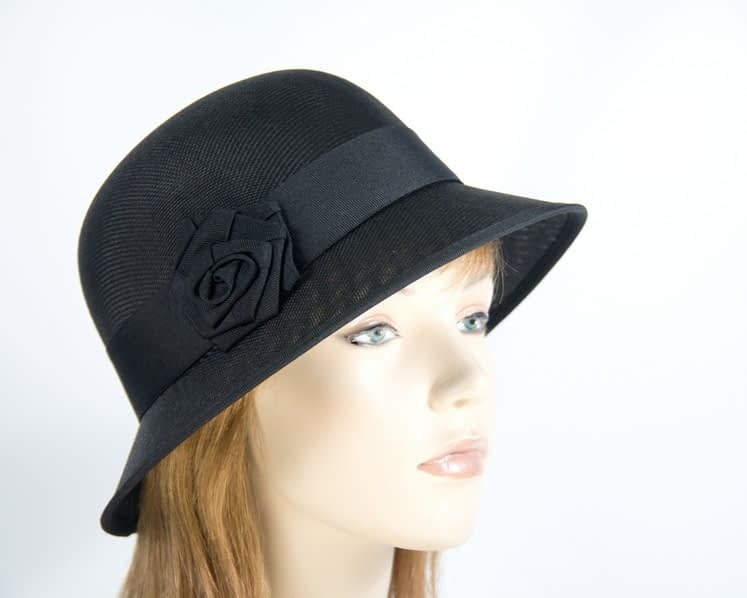 Black cloche bucket racing hat
