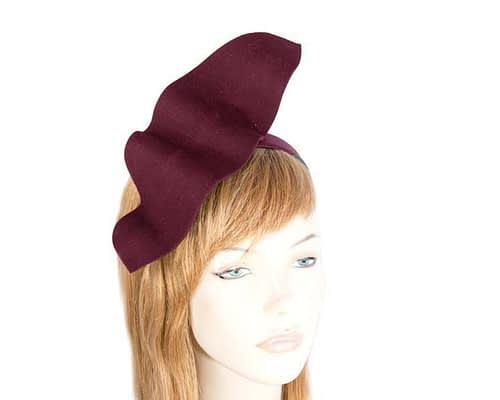 Burgundy felt winter fascinator J340W