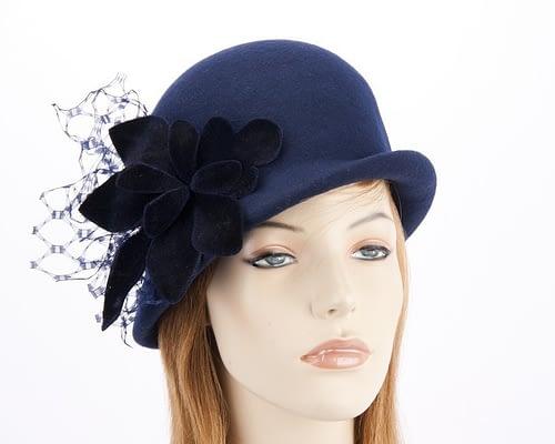 Navy felt bucket hat