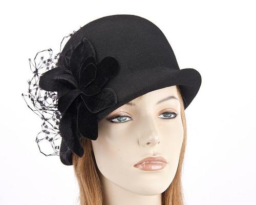 Black felt bucket hat