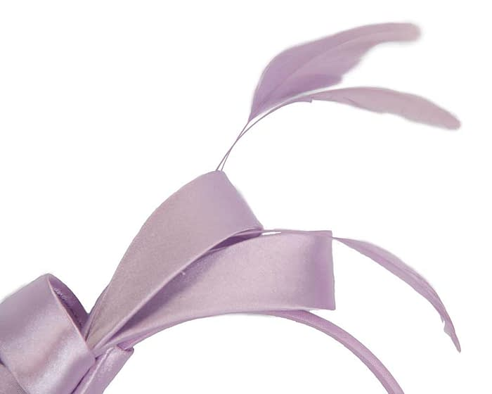 Fascinators Online - Lilac satin bow racing fascinator with feathers by Max Alexander 3