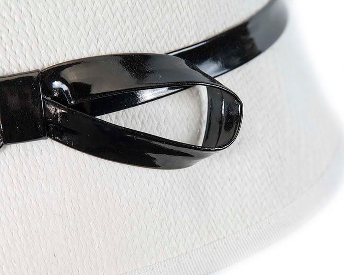Fascinators Online - White racing cloche bucket hat 4