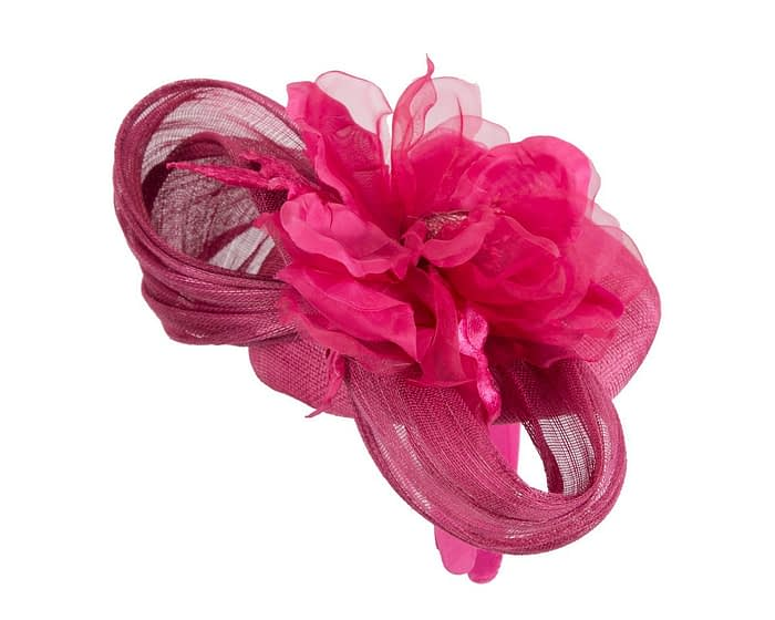 Fascinators Online - Fuchsia pillbox fascinator with large flower by Fillies Collection 3