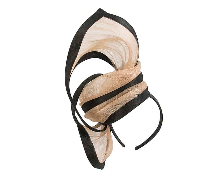 Fascinators Online - Tall black & nude designers fascinator by Fillies Collection 6