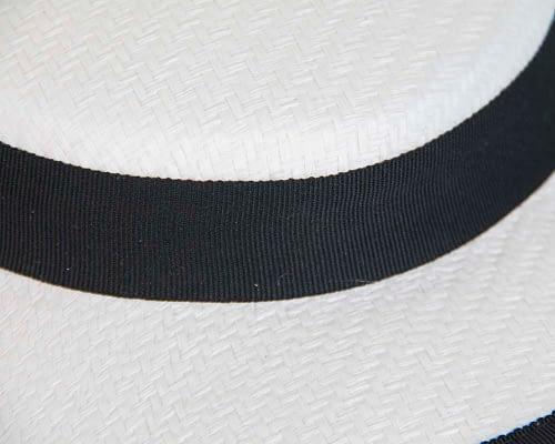 Fascinators Online - Small white & black boater fascinator hat by Max Alexander 4