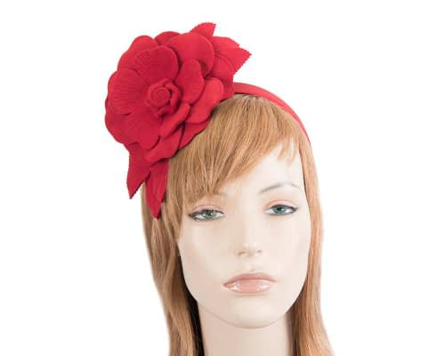 Fascinators Online - Red felt flower fascinator by Max Alexander 1