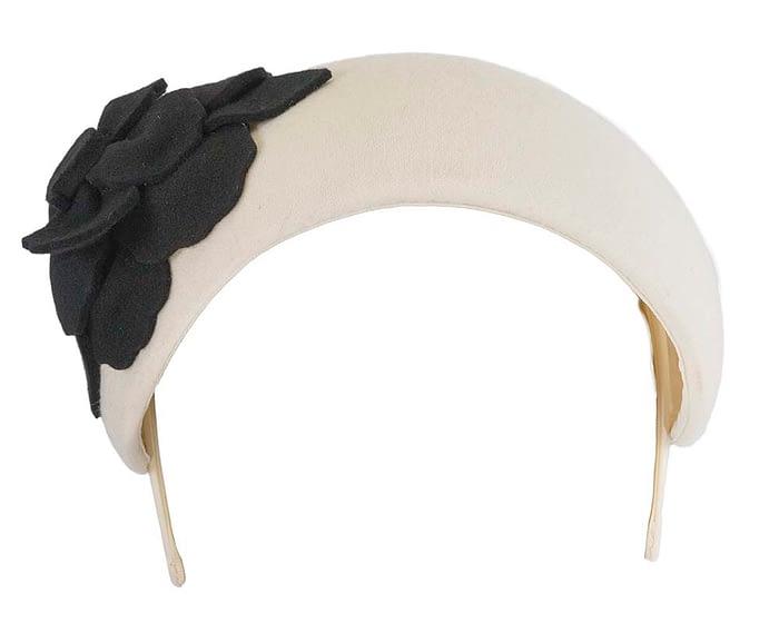 Fascinators Online - Wide headband cream winter fascinator with black flower by Max Alexander 3