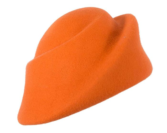 Fascinators Online - Designers orange felt hat 2