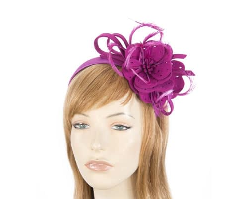 Fascinators Online - Fuchsia felt flower and feathers winter fascinator 1