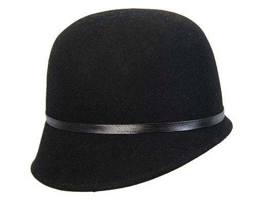 Fascinators Online - Black felt cloche hat by Max Alexander 3