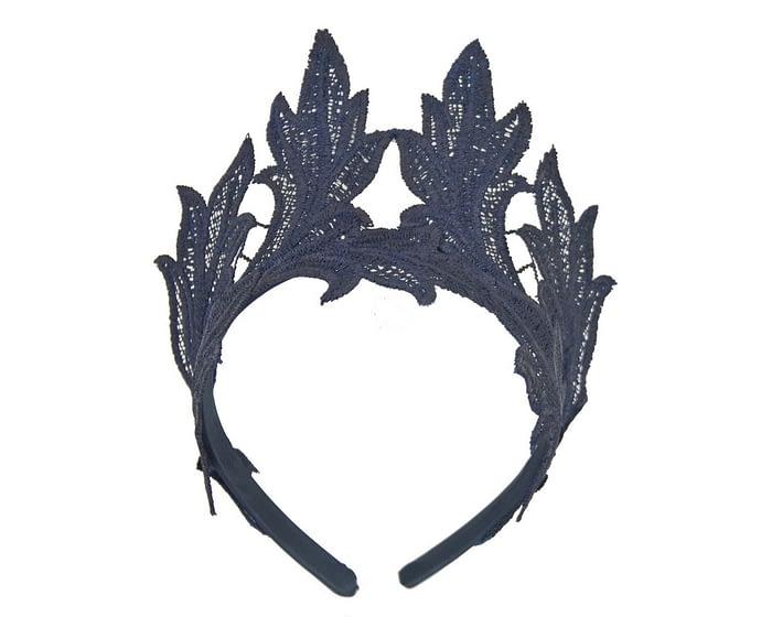 Fascinators Online - Navy lace crown fascinator by Max Alexander 2