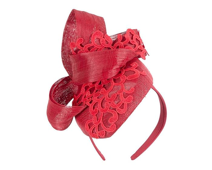Fascinators Online - Red pillbox fascinator with lace by Fillies Collection 2