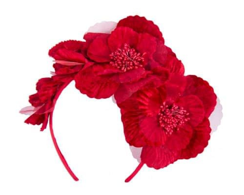 Fascinators Online - Red flowers on the headband 2