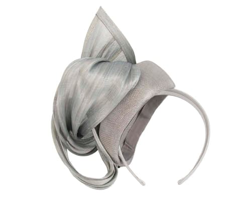 Fascinators Online - Silver pillbox fascinator with silk bow by Fillies Collection 4