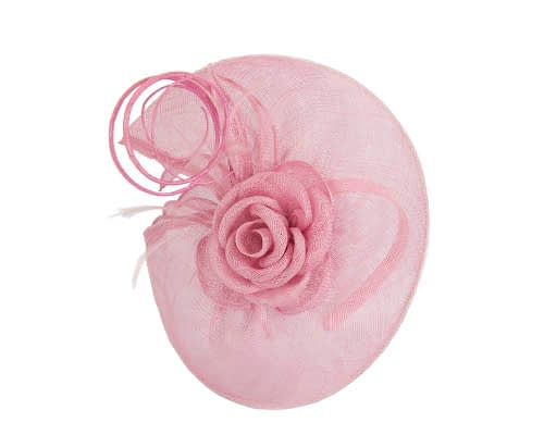 Fascinators Online - Large dusty pink sinamay racing fascinator with feathers by Max Alexander 3