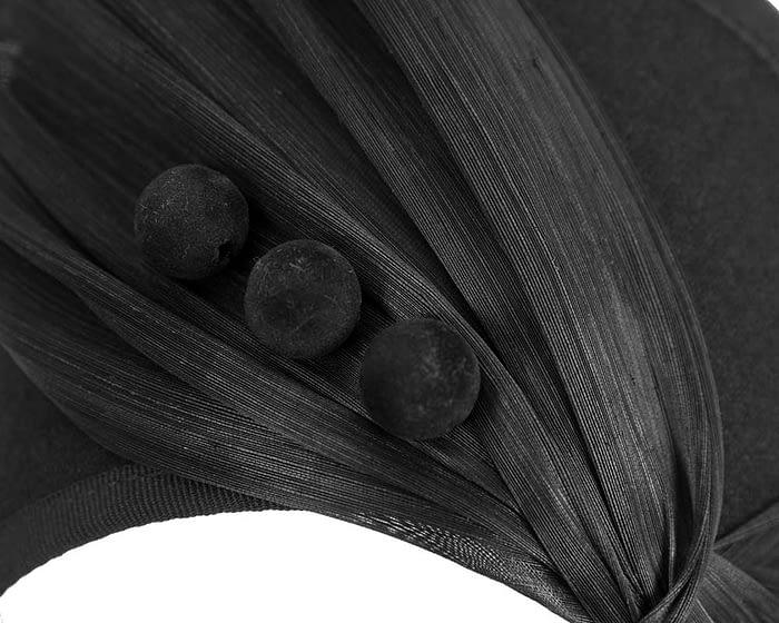 Fascinators Online - Black felt crown fascinator by Fillies Collection 4