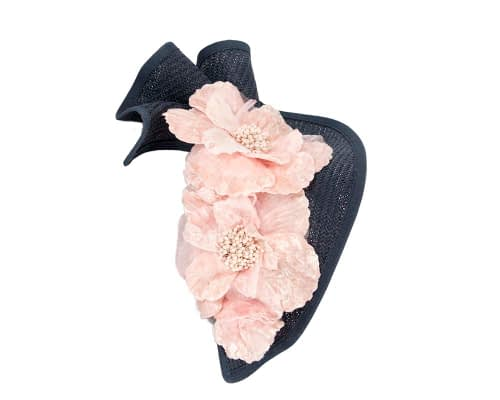 Fascinators Online - Bespoke large navy & cream flower fascinator by Fillies Collection 3