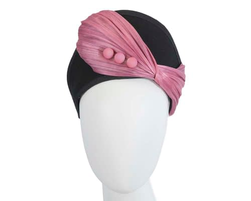 Fascinators Online - Black & Dusty Pink felt crown fascinator by Fillies Collection 48