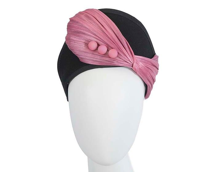 Fascinators Online - Black & Dusty Pink felt crown fascinator by Fillies Collection 1