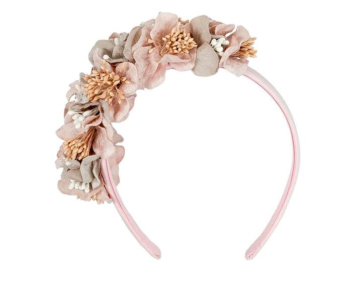Fascinators Online - Racing fascinator - Silver/Pink flowers on headband by Max Alexander 2