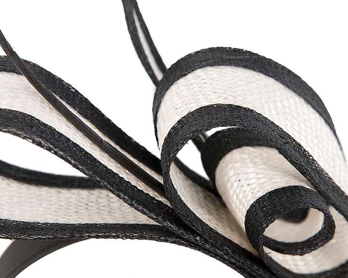Fascinators Online - White & Black Australian Made bow fascinator 3