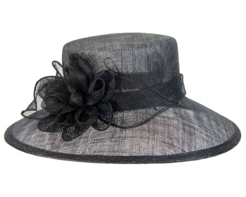 Fascinators Online - Wide brim black sinamay fashion hat by Max Alexander 2