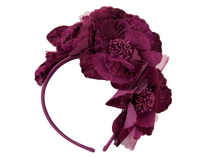 Fascinators Online - Burgundy flowers on the headband 2