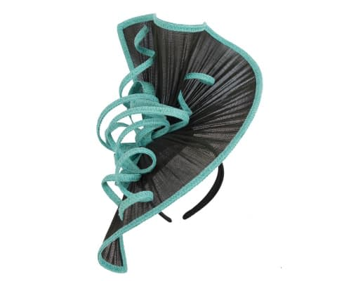 Fascinators Online - Large black & turquoise jinsin racing fascinator by Fillies Collection 2