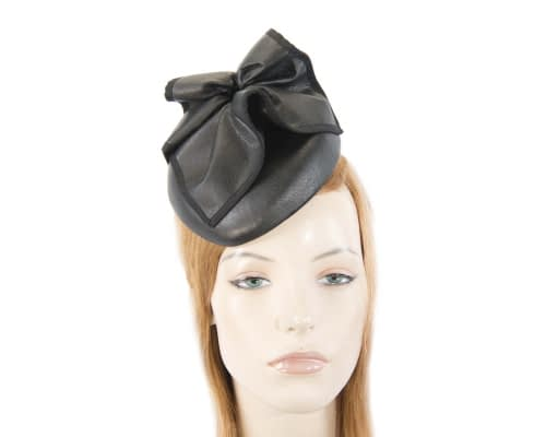 Fascinators Online - Black leather pillbox fascinator by Max Alexander 4