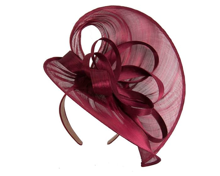 Fascinators Online - Large burgundy wine heart fascinator by Fillies Collection 2