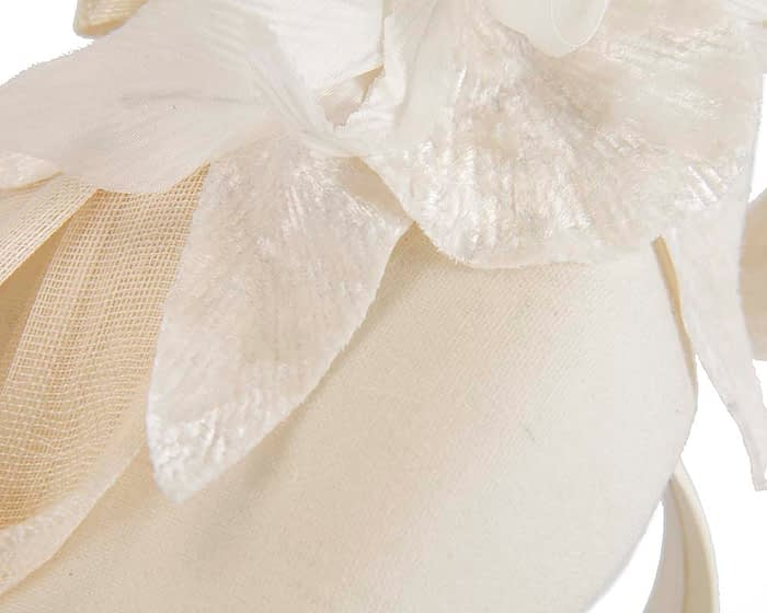 Fascinators Online - Tall cream felt pillbox with flower by Fillies Collection 5
