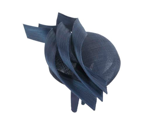 Fascinators Online - Navy pillbox racing fascinator with jinsin trim by Fillies Collection 4