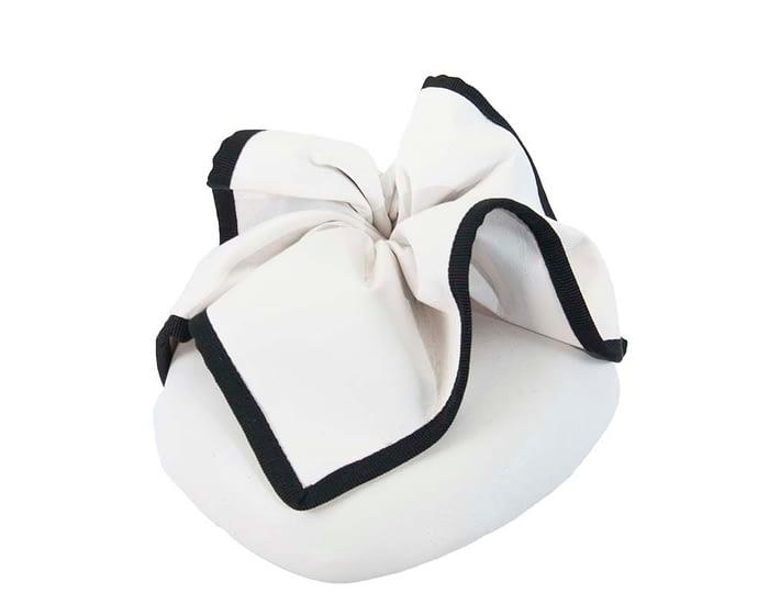 Fascinators Online - White & black leather pillbox fascinator by Max Alexander 2