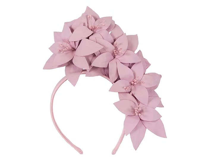 Fascinators Online - Lilac leather flower headband by Fillies Collection 2