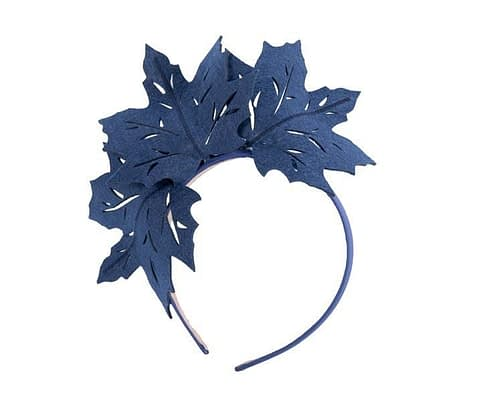 Fascinators Online - Navy Laser Cut felt Maple Leaves on a Headband 1