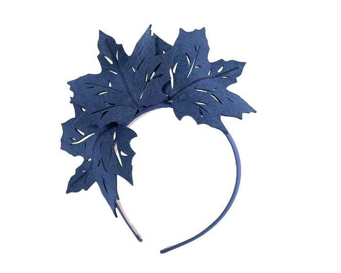Fascinators Online - Navy Laser Cut felt Maple Leaves on a Headband 1