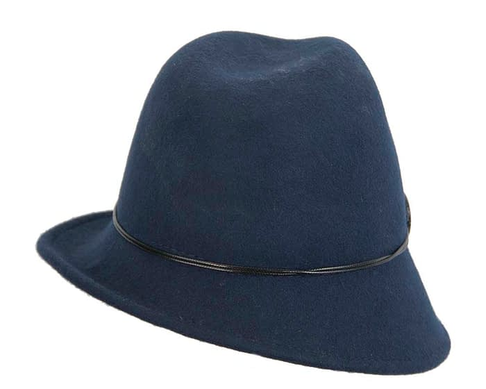 Fascinators Online - Navy felt trilby hat by Max Alexander 5