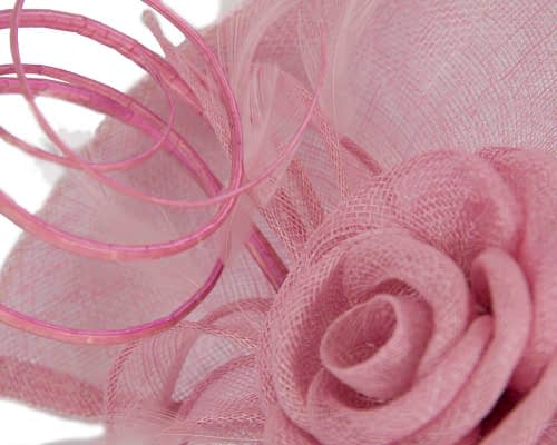 Fascinators Online - Large dusty pink sinamay racing fascinator with feathers by Max Alexander 4